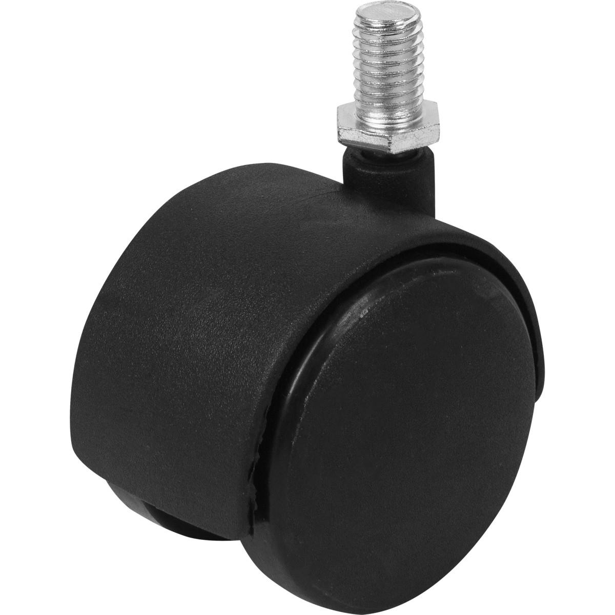 Колесо для мебели поворотное без тормоза 50 мм до 50 кг цвет чёрный
