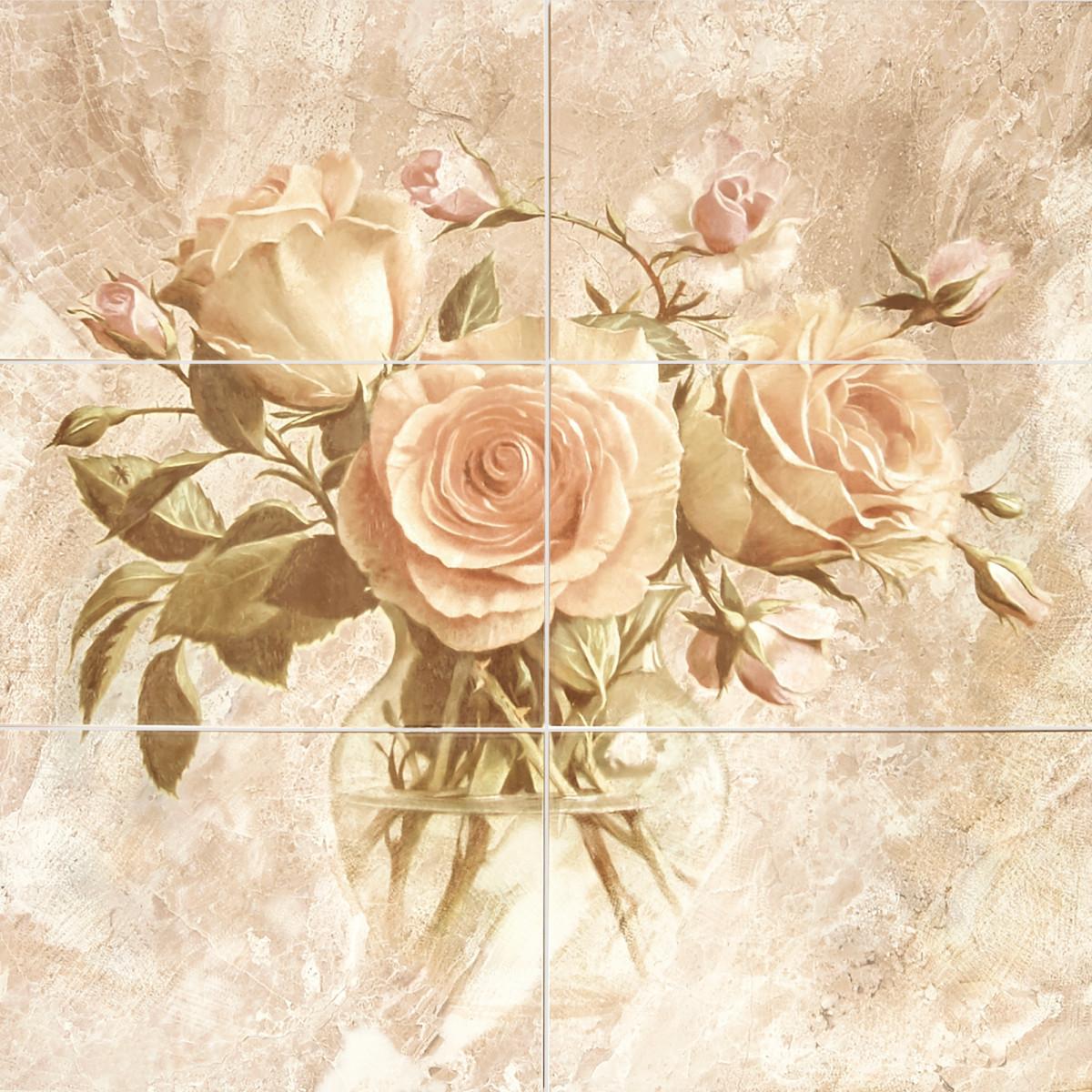 Панно настенное Garda Цветы 27.5x40 см 0.648 м² цвет бежевый