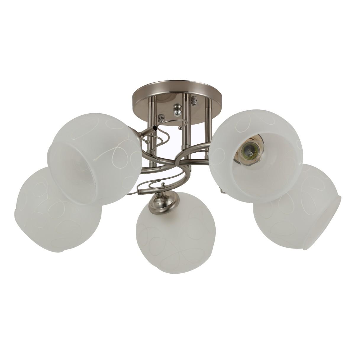 Люстра потолочная Quanti 5 ламп 12 м² цвет сатинированный никель/белый
