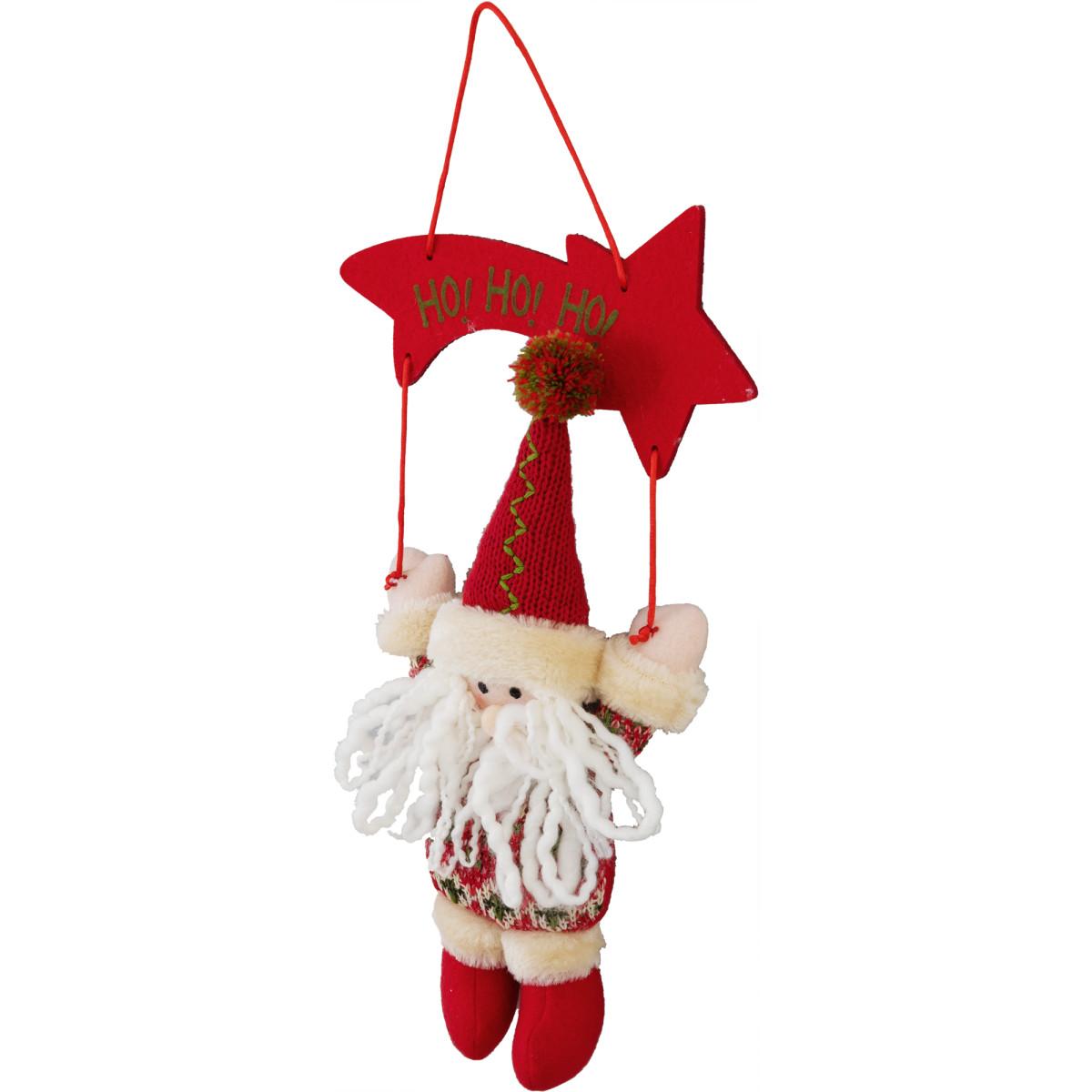 Украшение елочное Санта 20 см полиэстер