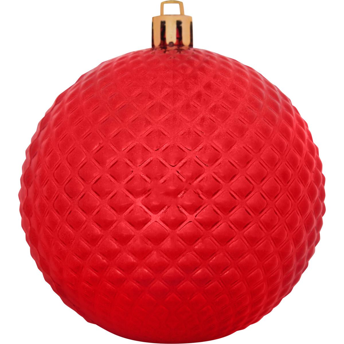 Шар елочный блестящий 8 см цвет красный