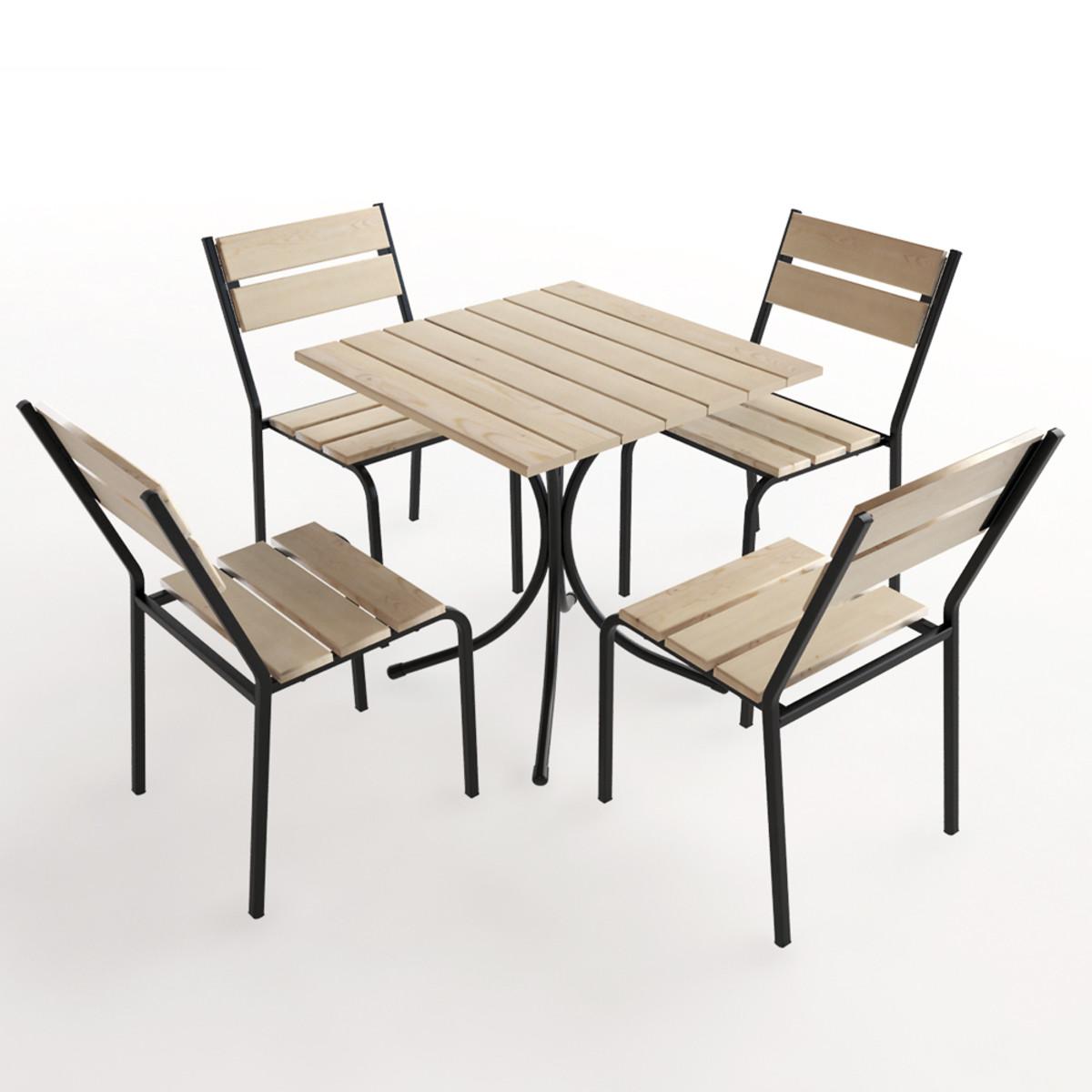 Набор садовой мебели Forest дерево стол и 4 стула