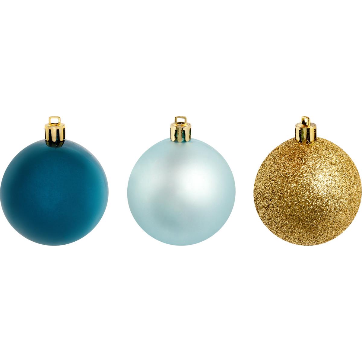 Набор елочных шаров 6 см цвет голубой/синий/золотой 10 шт.