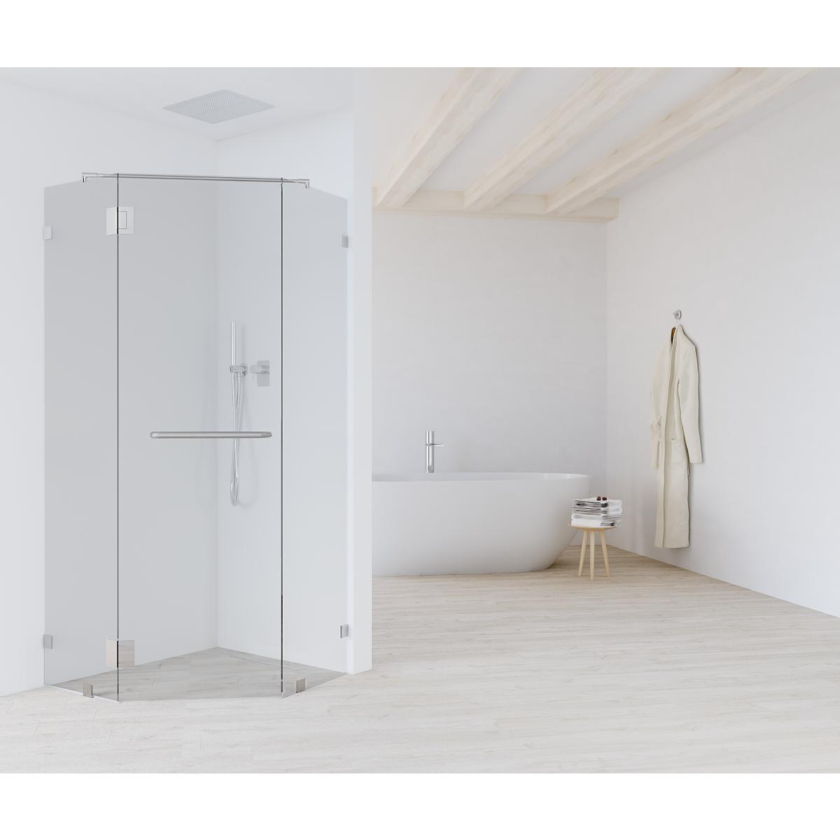 Душевая дверь «Астра» пентагональная 118x78 см