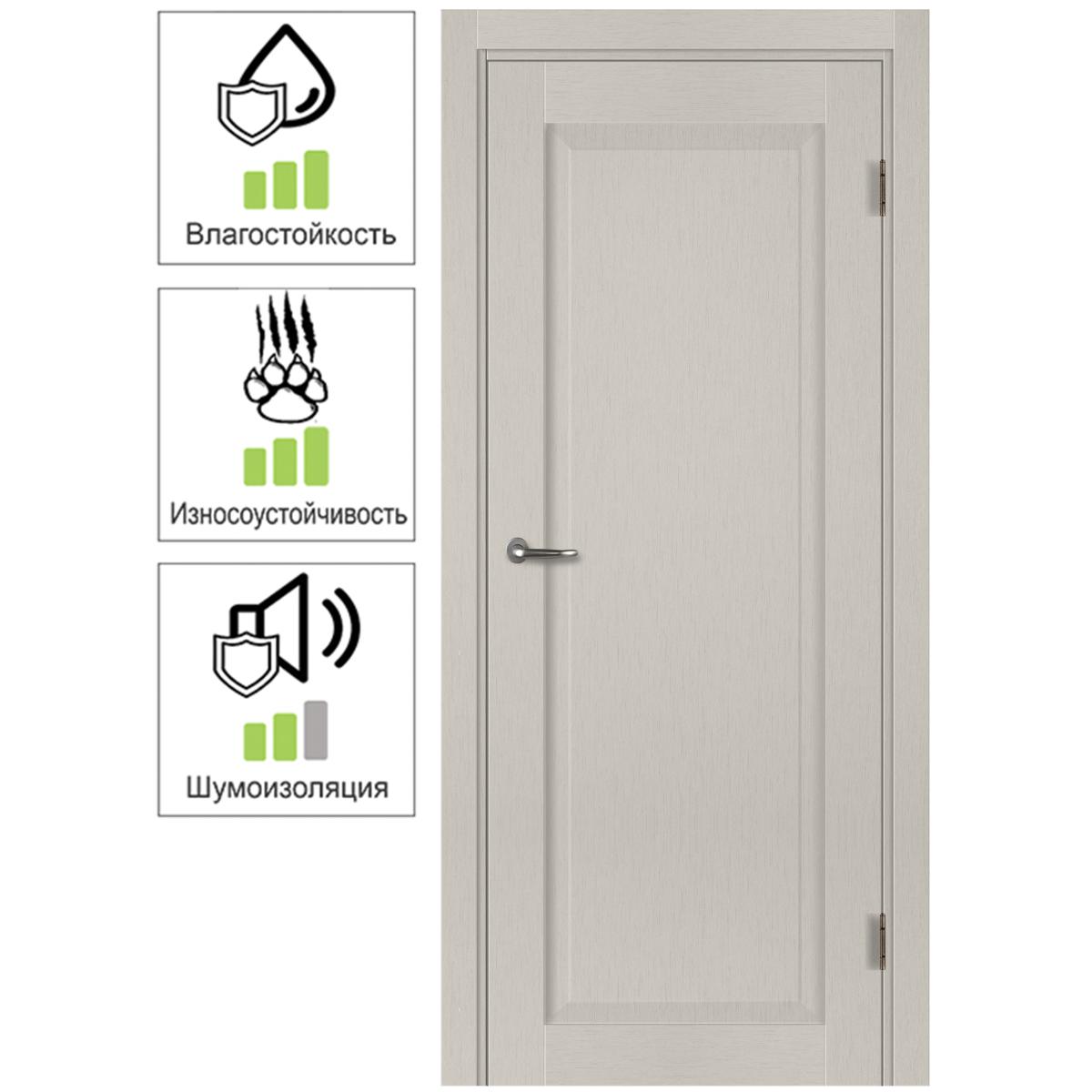 Дверь межкомнатная с фурнитурой Пьемонт 60х200 см Hardflex цвет платина светлая