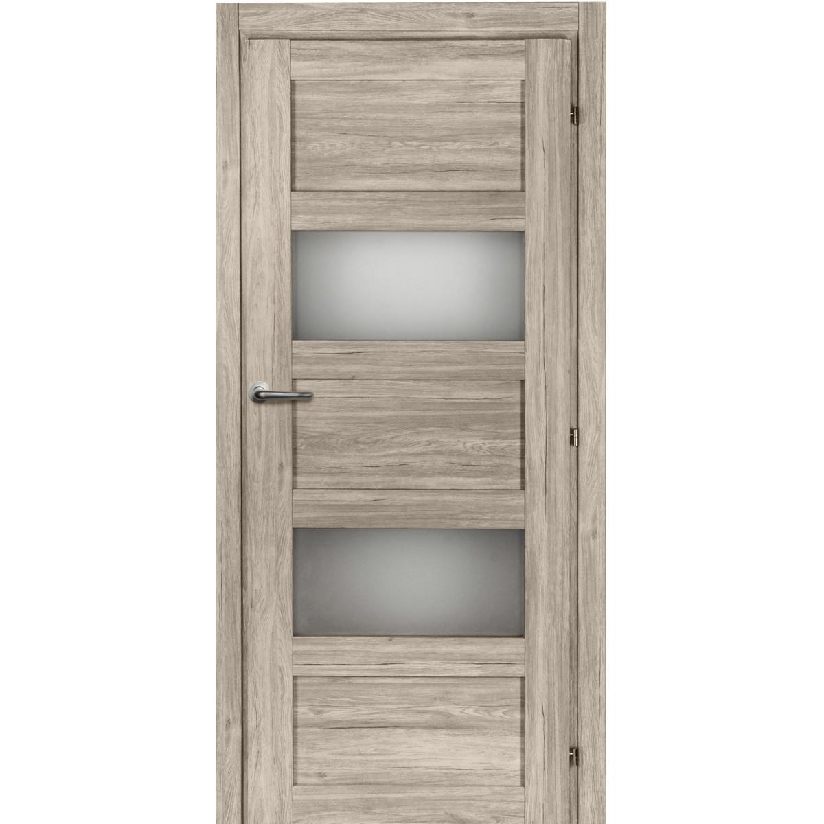 Дверь Межкомнатная Остеклённая Прэсто 90Х200 Пвх Цвет Дуб Санремо С Фурнитурой