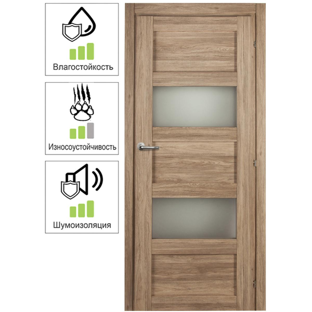 Дверь межкомнатная остеклённая Прэсто 60х200 см ПВХ цвет дуб санремо натуральный с фурнитурой