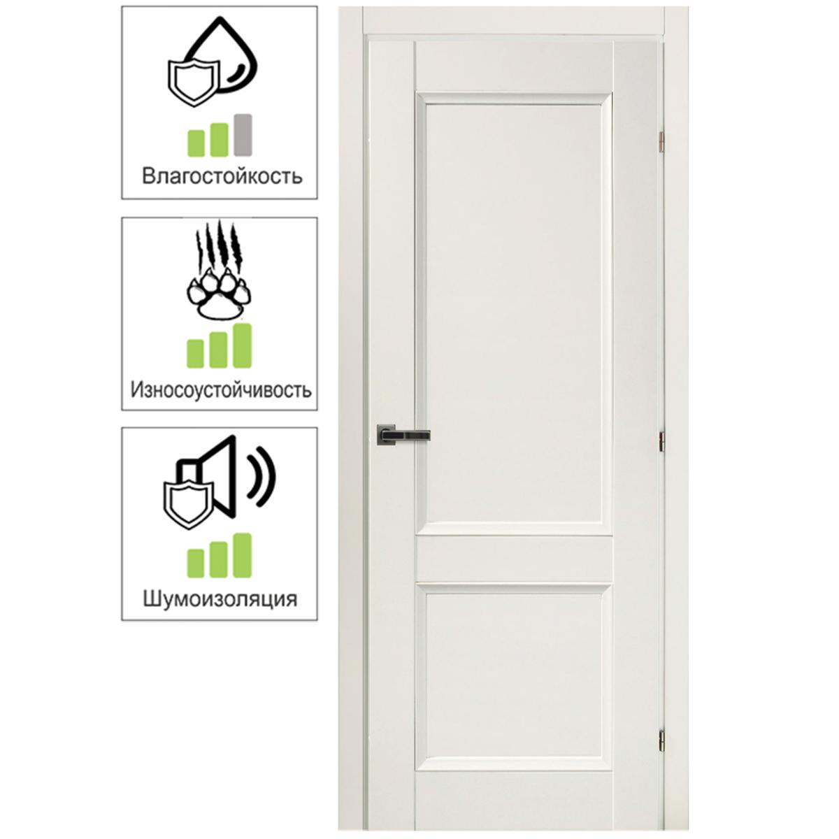 Дверь межкомнатная Танганика 90х200 см CPL цвет белый с фурнитурой