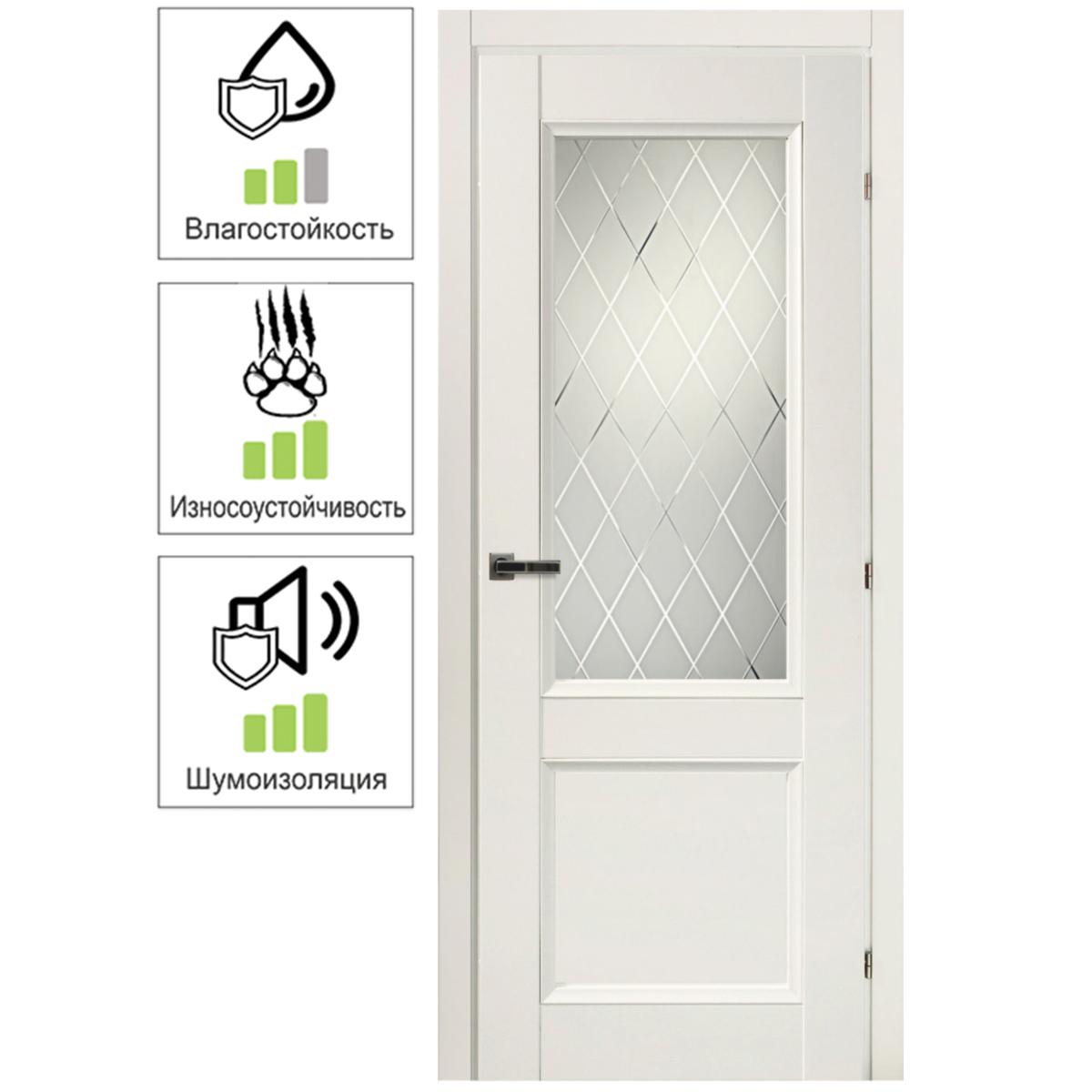 Дверь межкомнатная остеклённая Танганика 80х200 см CPL цвет белый с фурнитурой