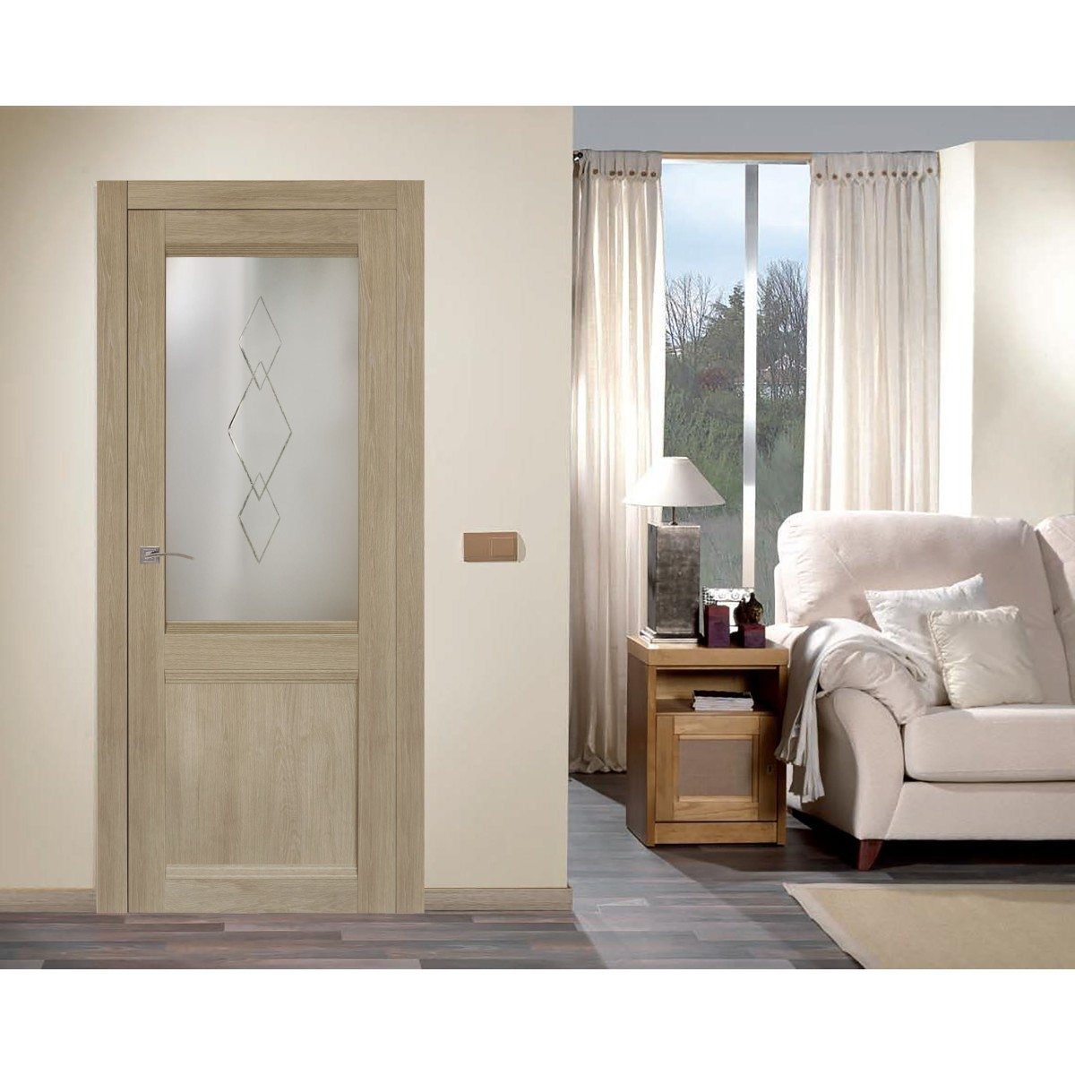 Дверь Межкомнатная Остеклённая Арагона С Фурнитурой 70Х200 Цвет Дуб Тёрнер