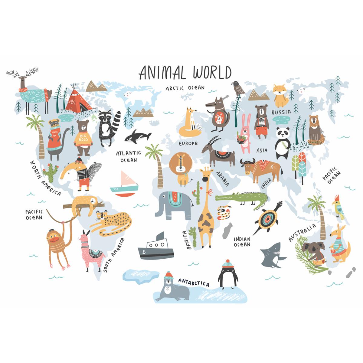 Фотообои Волшебная карта мира бумажные 200x140 см