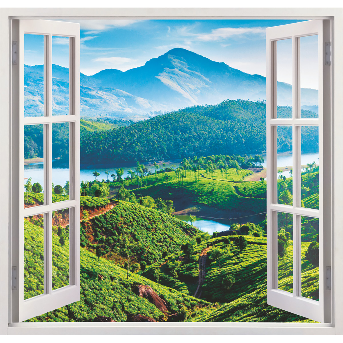 Фотообои Вид из окна бумажные 139x139 см