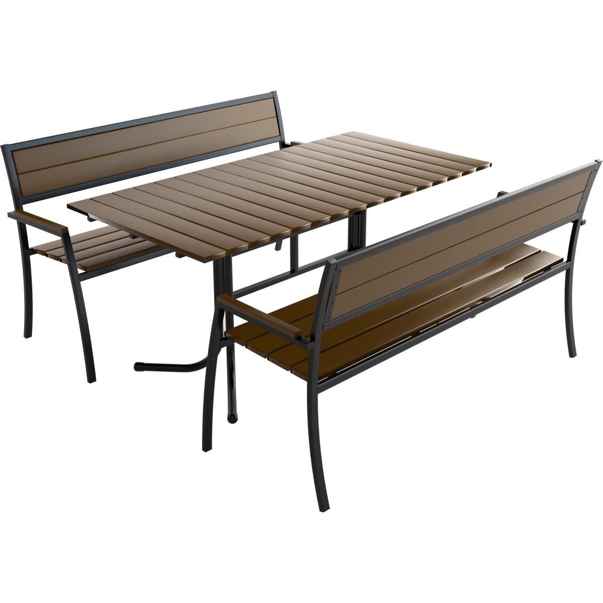 Комплект садовой мебели Кантри 1 стол и 2 лавки