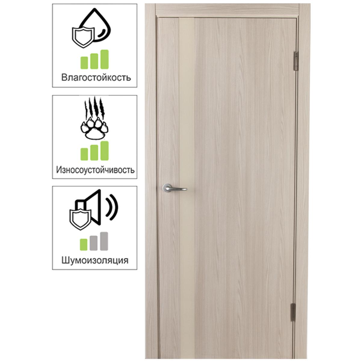 Дверь межкомнатная глухая с замком и петлями в комплекте Мирра 60x200 см Hardflex цвет ясень бора