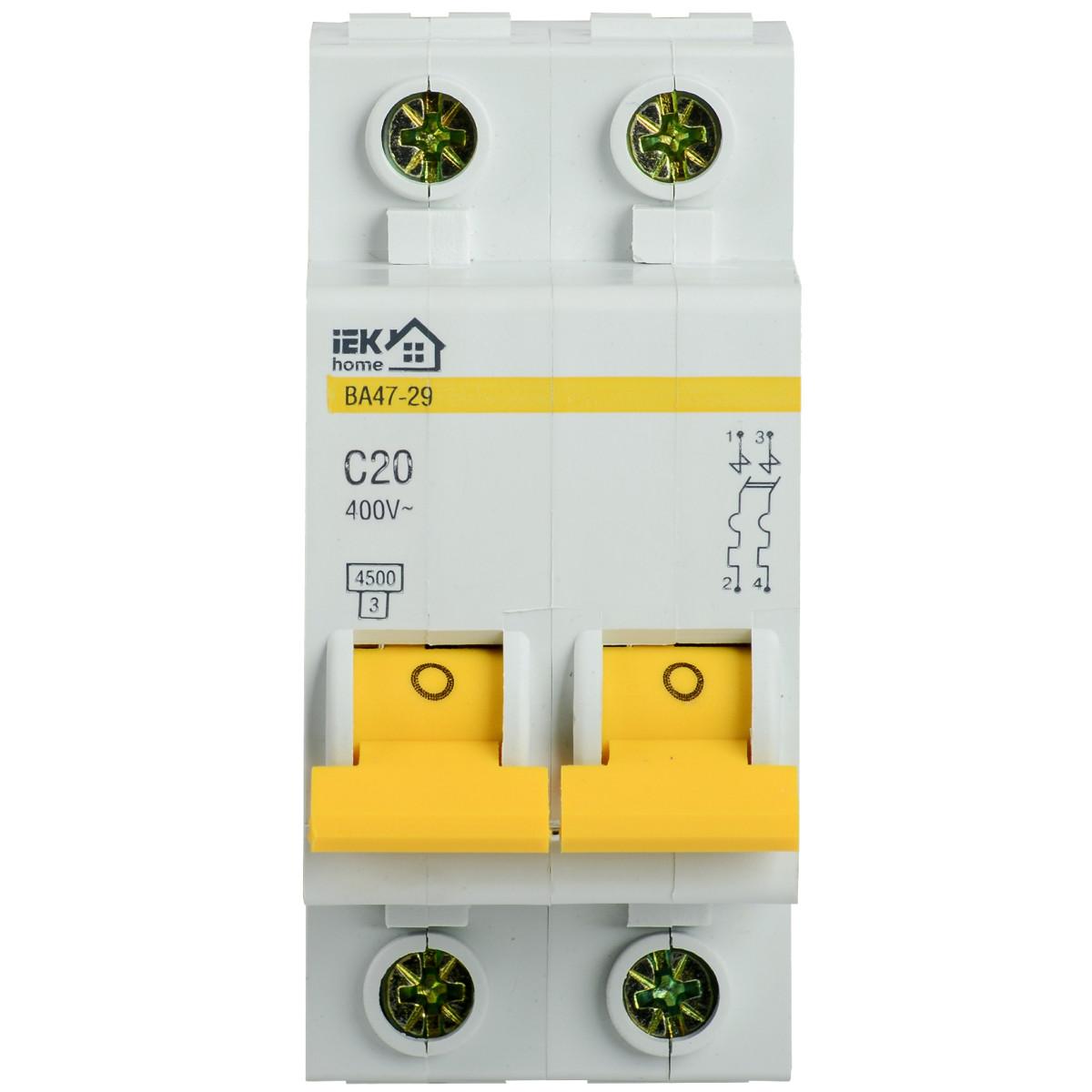 Выключатель автоматический IEK Home B A47-29 2 полюса 20 А