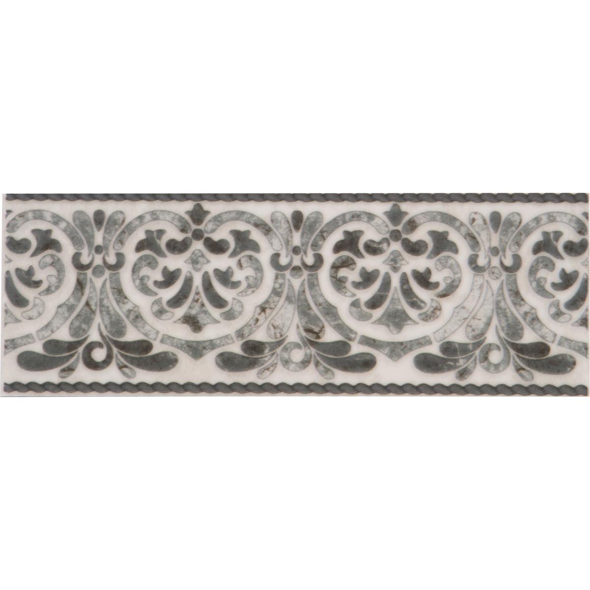 Бордюр настенный «Мрамор» 7x20 см цвет серый