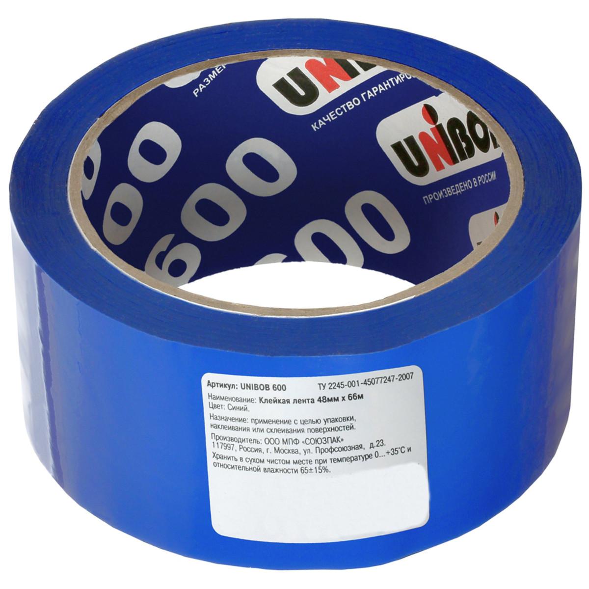 Лента клейкая упаковочная Unibob 48 мм x 66 м цвет синий