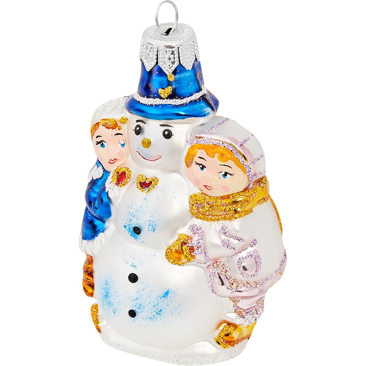 Ёлочное украшение «Дети со снеговиком»