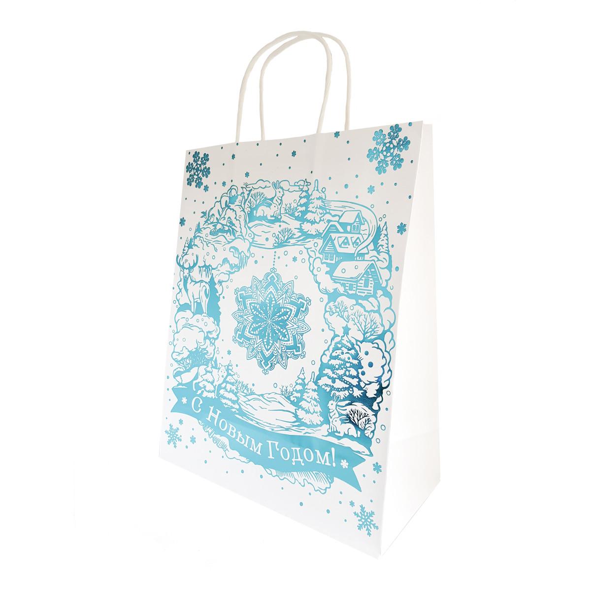 Пакет подарочный крафт Волшебная снежинка 18x23 см