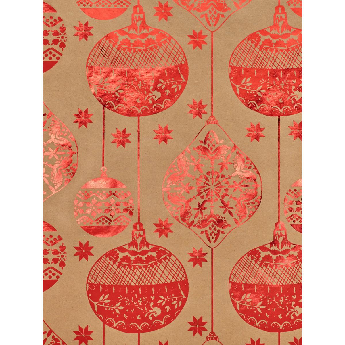 Бумага упаковочная крафт «Красные шары» 70х100 см
