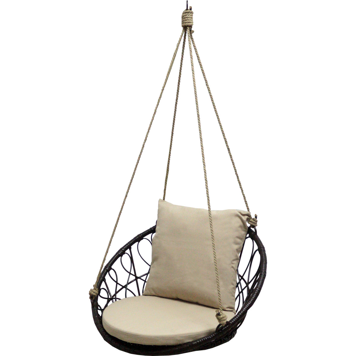 Кресло подвесное без опоры Siesta 2 80x56.5x70.6 см искусственный ротанг темно-коричневый/бежевый