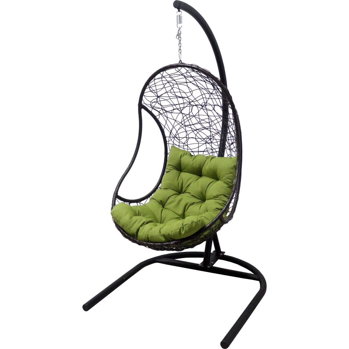 Кресло подвесное с опорой Bliss 102x200x126 см искусственный ротанг темно-коричневый/оливковый