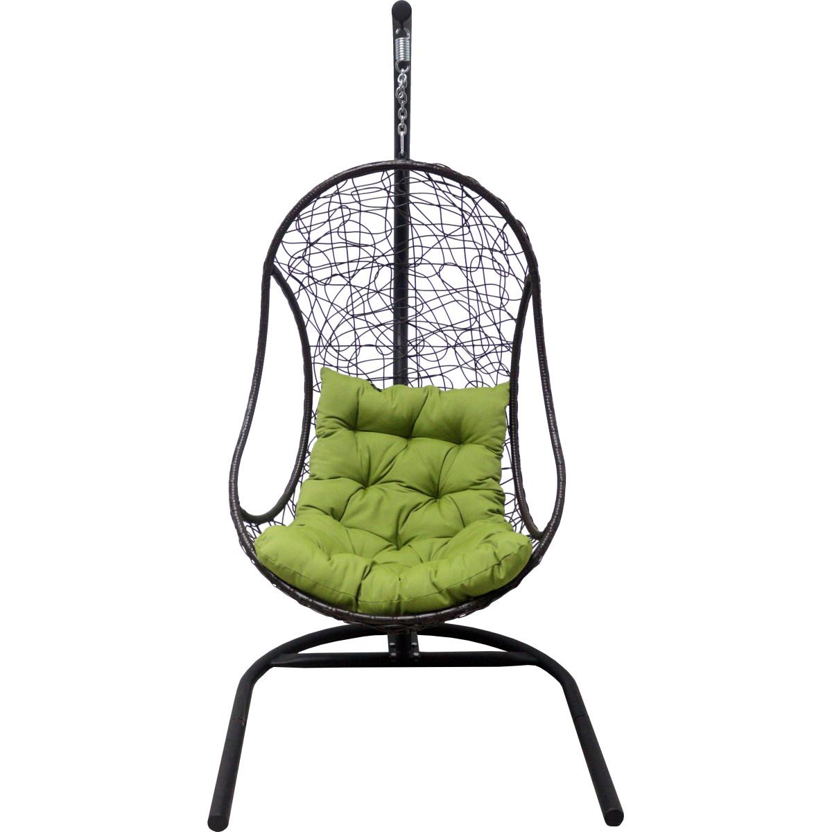Кресло Подвесное С Опорой Bliss 102x200x126 Искусственный Ротанг Темно-Коричневый/Оливковый