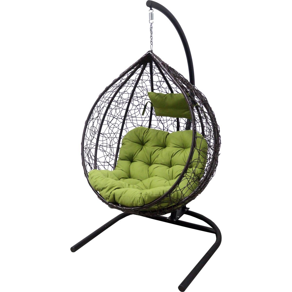 Кресло подвесное с опорой Veil 102x200x126 см искусственный ротанг темно-коричневый/оливковый
