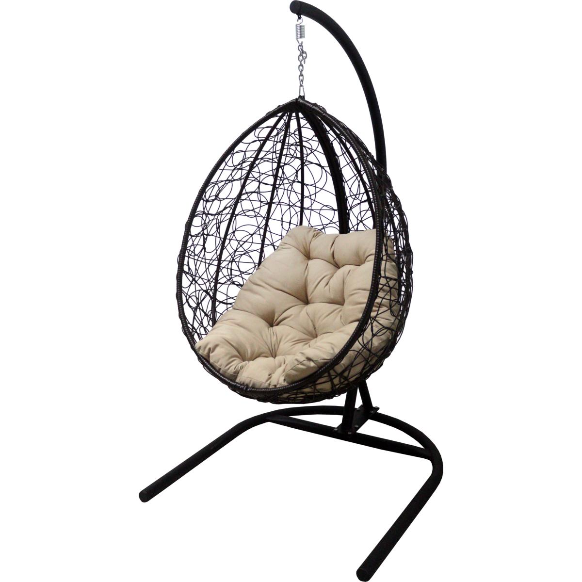 Кресло Подвесное С Опорой Veil Эконом 102x200x126 Искусственный Ротанг Темно-Коричневый/Бежевый