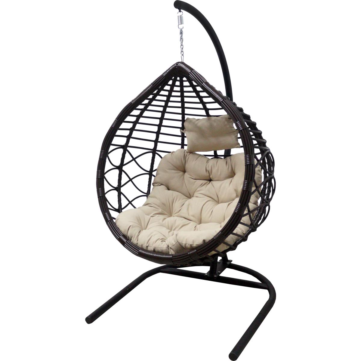 Кресло Подвесное С Опорой Veil 2 102x200x126 Искусственный Ротанг Темно-Коричневый/Бежевый