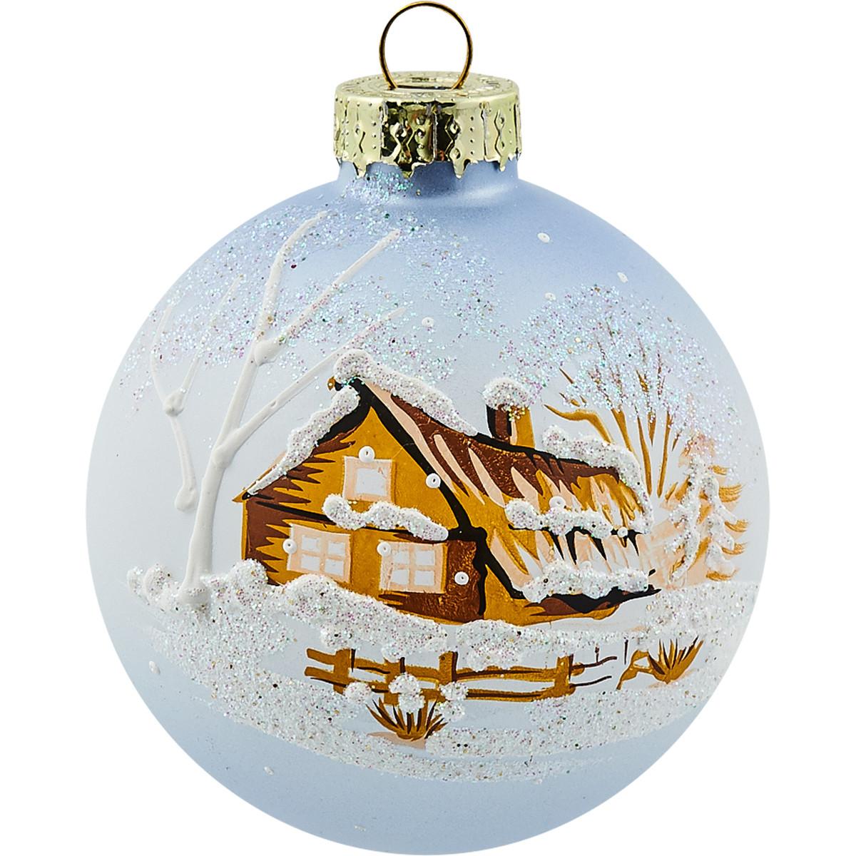 Шар елочный Снежные дома 65 мм