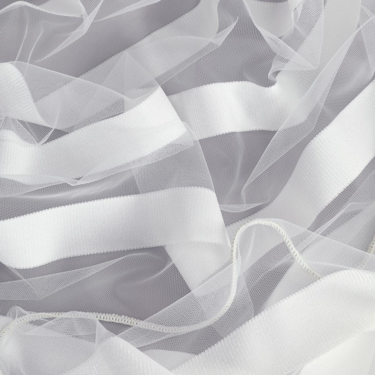Тюль 1 м/п Полоска сетка 300 см цвет белый