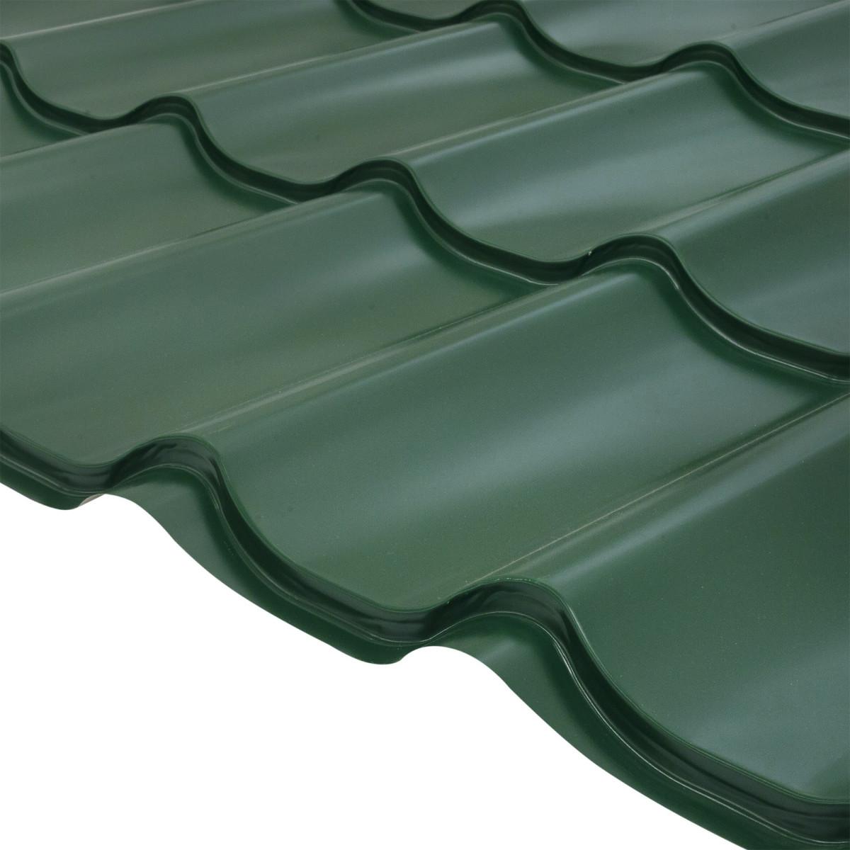 Лист металлочерепицы с полиэстеровым покрытием 6-волновый зеленый
