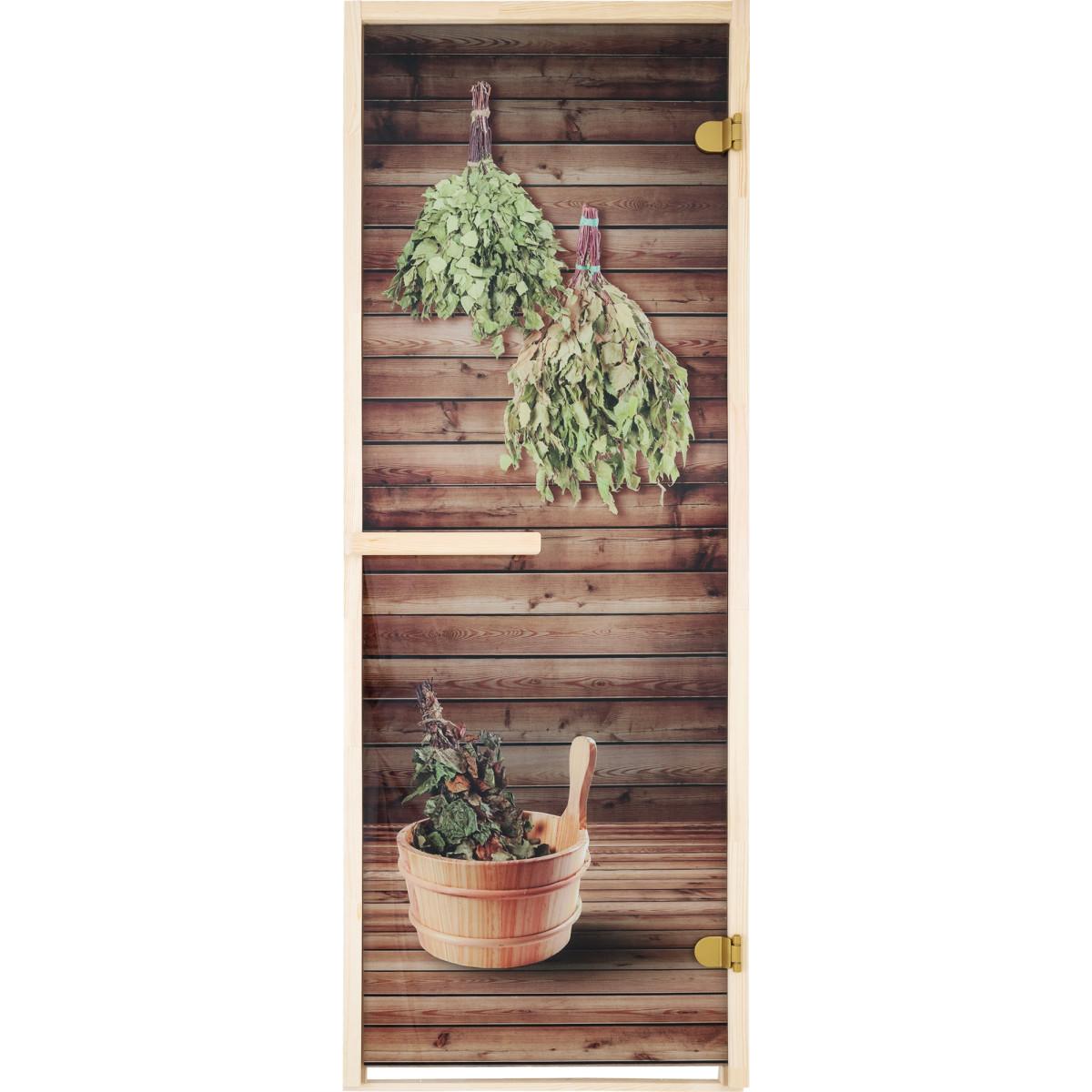 Дверь для сауны Веники 69х189 см цвет бронза