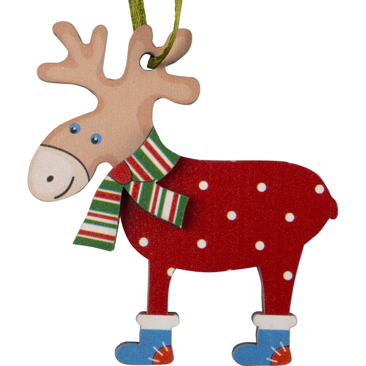 Украшение новогоднее Олень в пижаме 8 см фанера