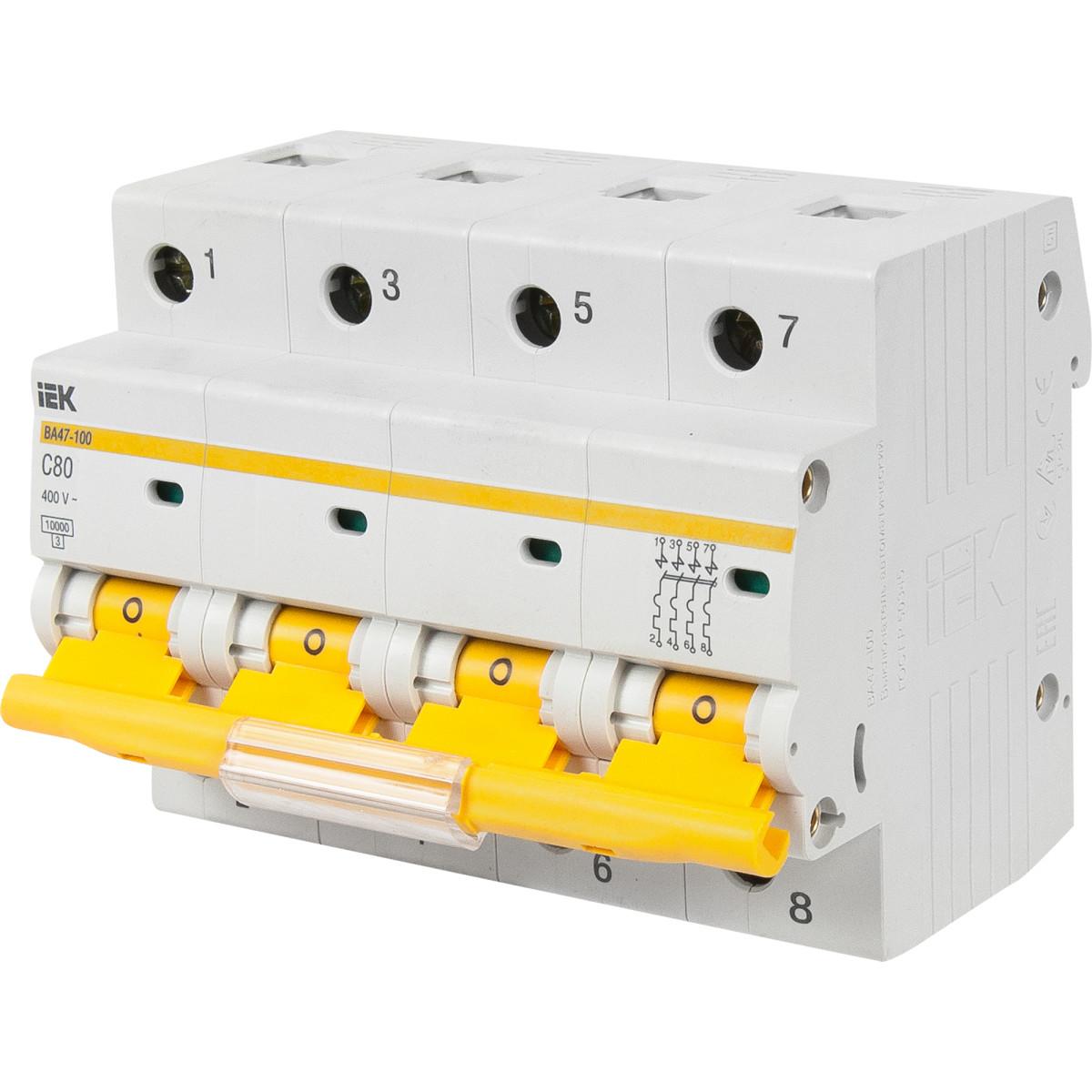 Выключатель автоматический IEK ВА 47-100 4 полюса 80 А С
