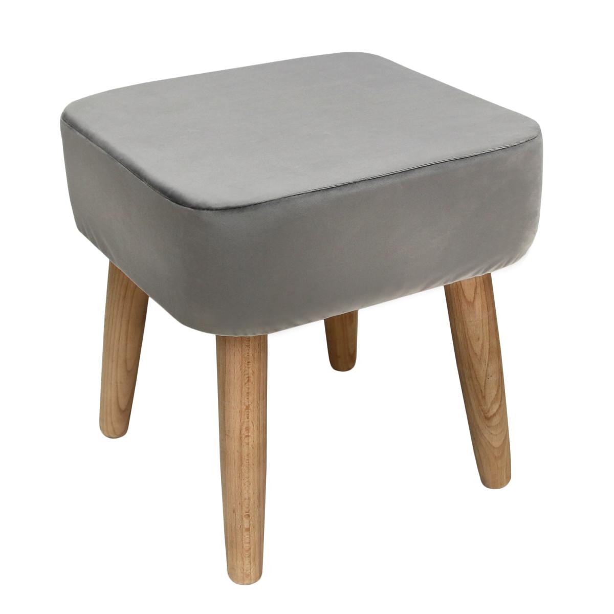 Табурет с мягкой обивкой квадратный цвет серый