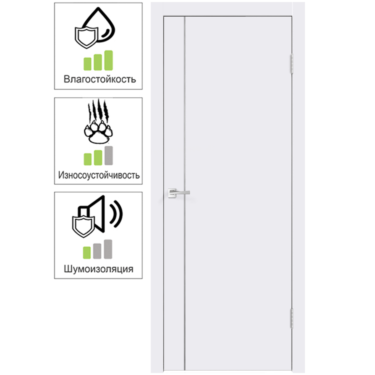 Дверь межкомнатная Смарт М1 70х200 с фурнитурой цвет белый