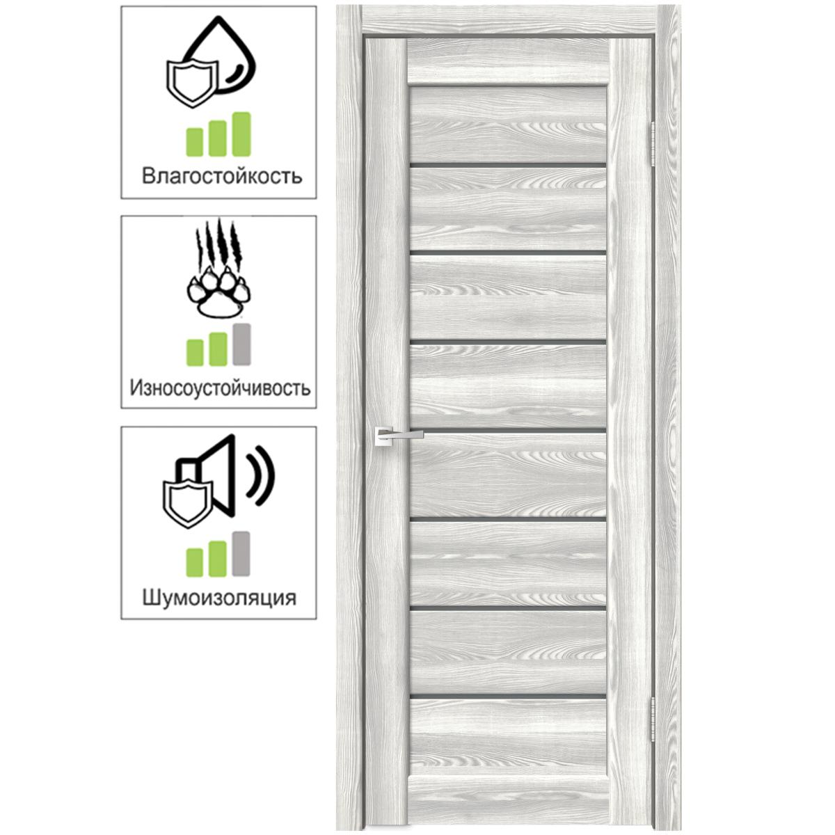 Дверь межкомнатная остеклённая Сохо 8 70х200 см с фурнитурой цвет светлый клён