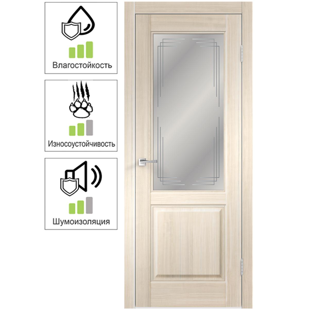 Дверь межкомнатная остеклённая Вилла 2Р 80х200 см с фурнитурой ПВХ цвет японский ясень