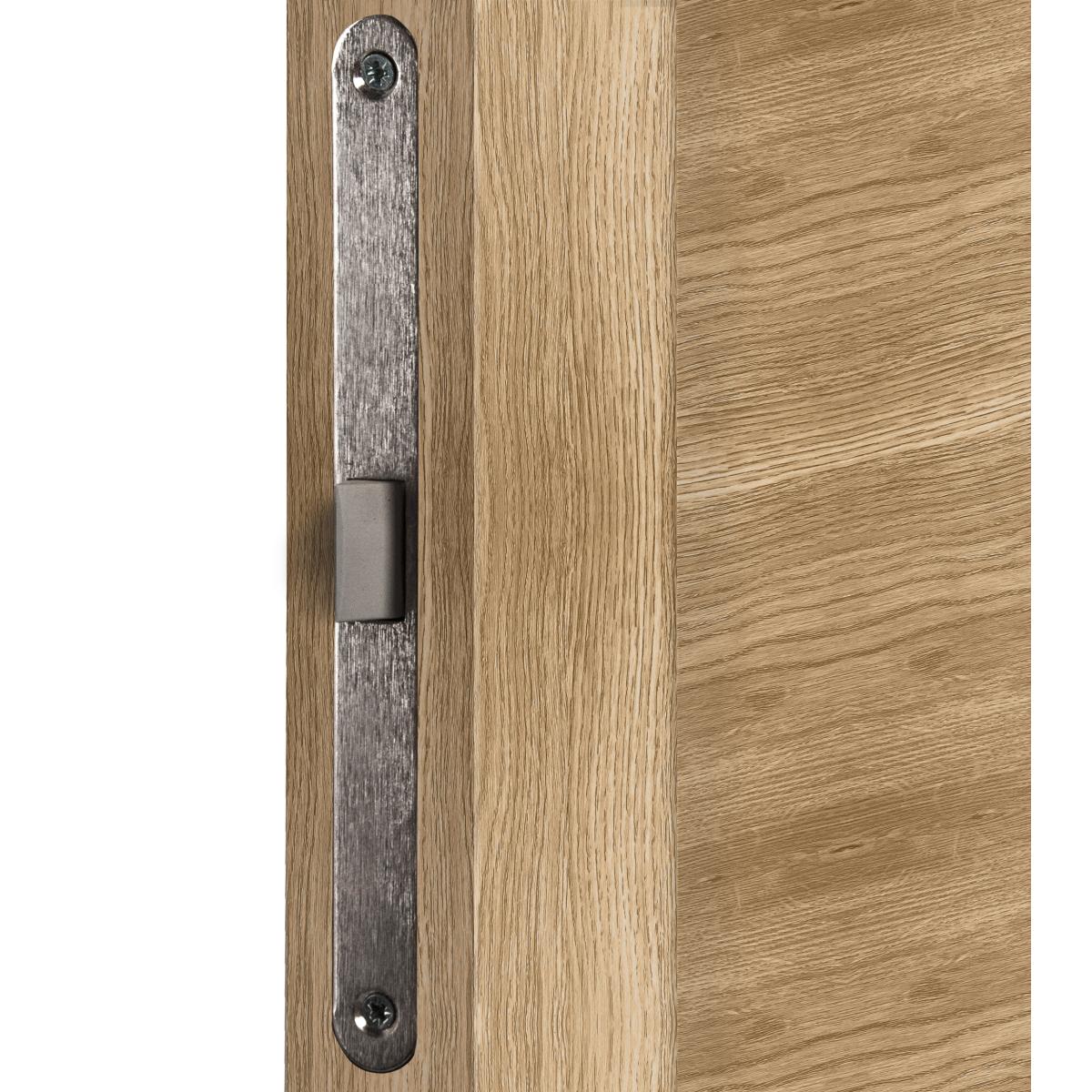 Дверь межкомнатная остеклённая Тренто 80х200 см с фурнитурой ПВХ цвет европейский дуб