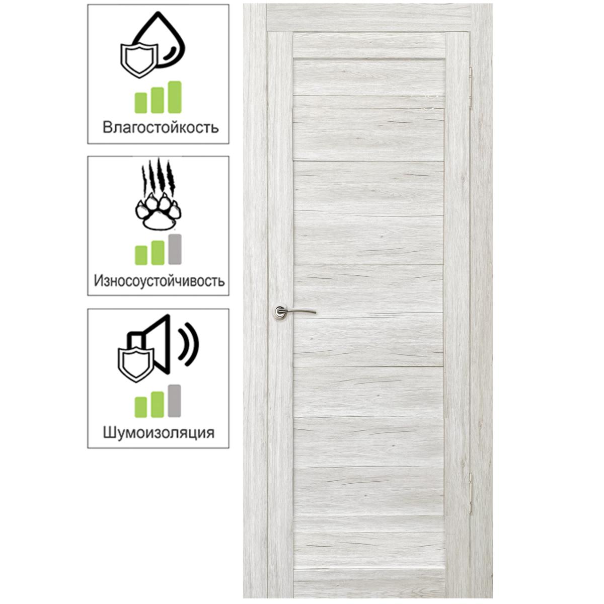 Дверь межкомнатная Тиволи 70х200 см с фурнитурой ПВХ цвет рустик серый