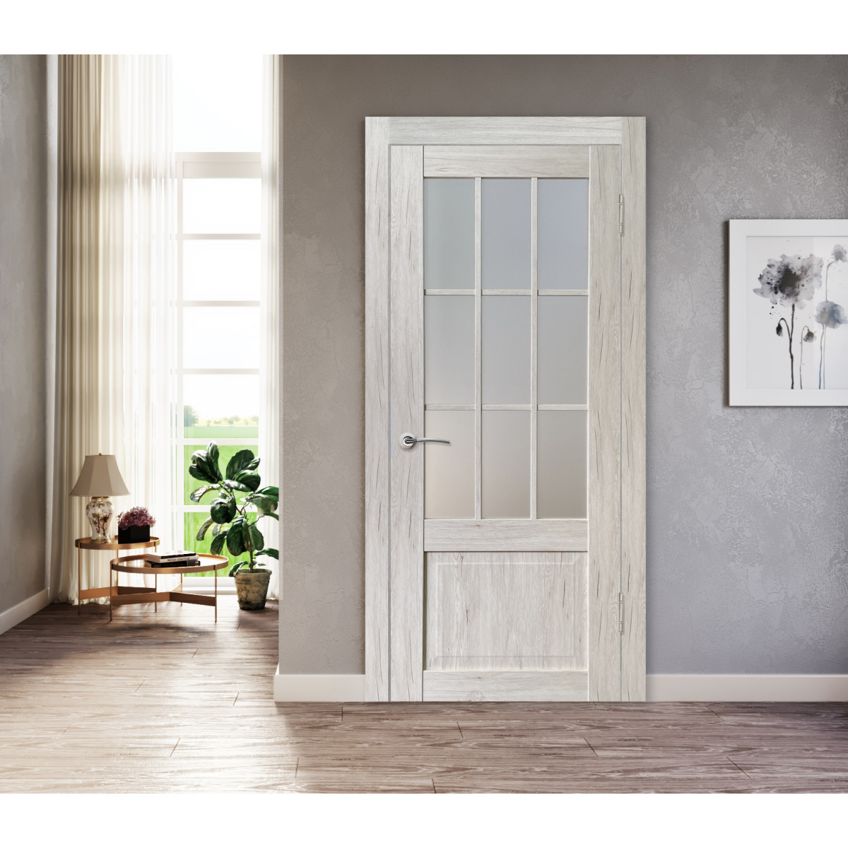 Дверь Межкомнатная Остеклённая Амелия 90Х200 С Фурнитурой Пвх Цвет Рустик Серый