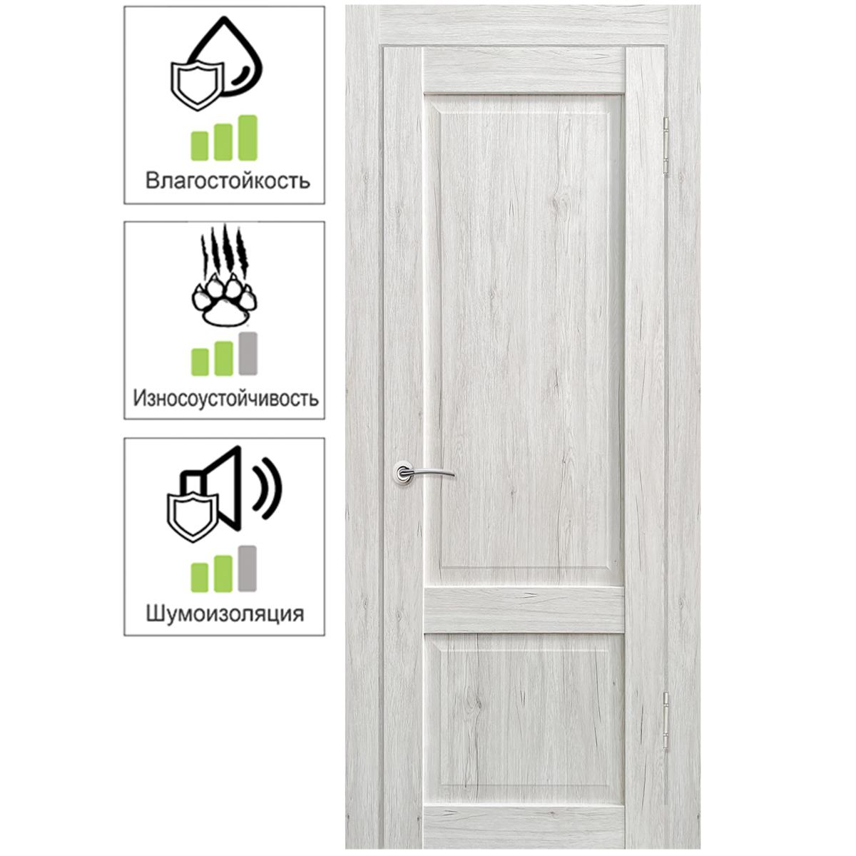 Дверь межкомнатная Амелия 60х200 см с фурнитурой ПВХ цвет рустик серый