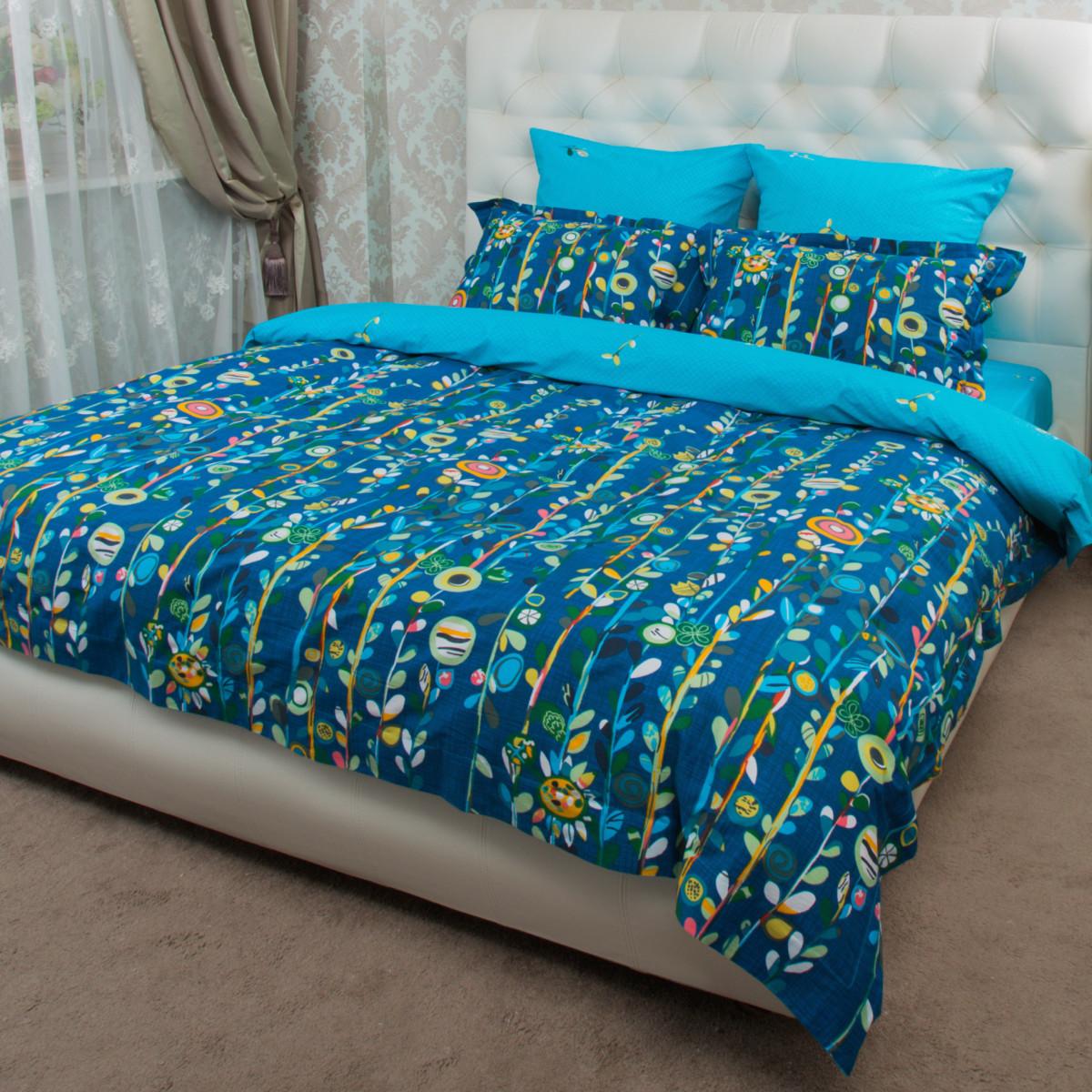 Комплект постельного белья Цветы евро сатин 50x70 70x70 см