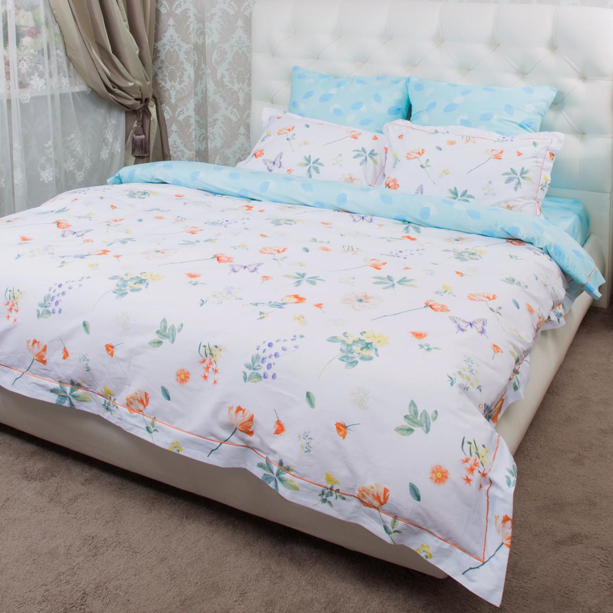 Комплект постельного белья Цветы семейный сатин 50x70 70x70 см