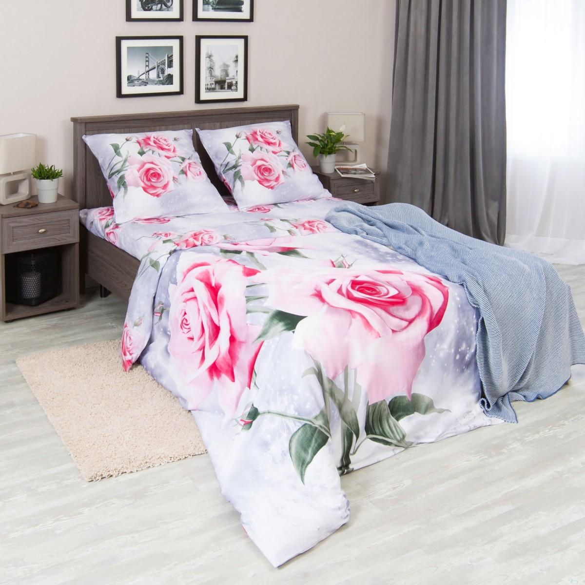 Комплект Постельного Белья Розовая Роза Полутораспальный Сатин