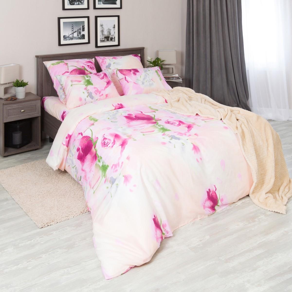 Комплект Постельного Белья Розовые Розы Двуспальный Микрофибра