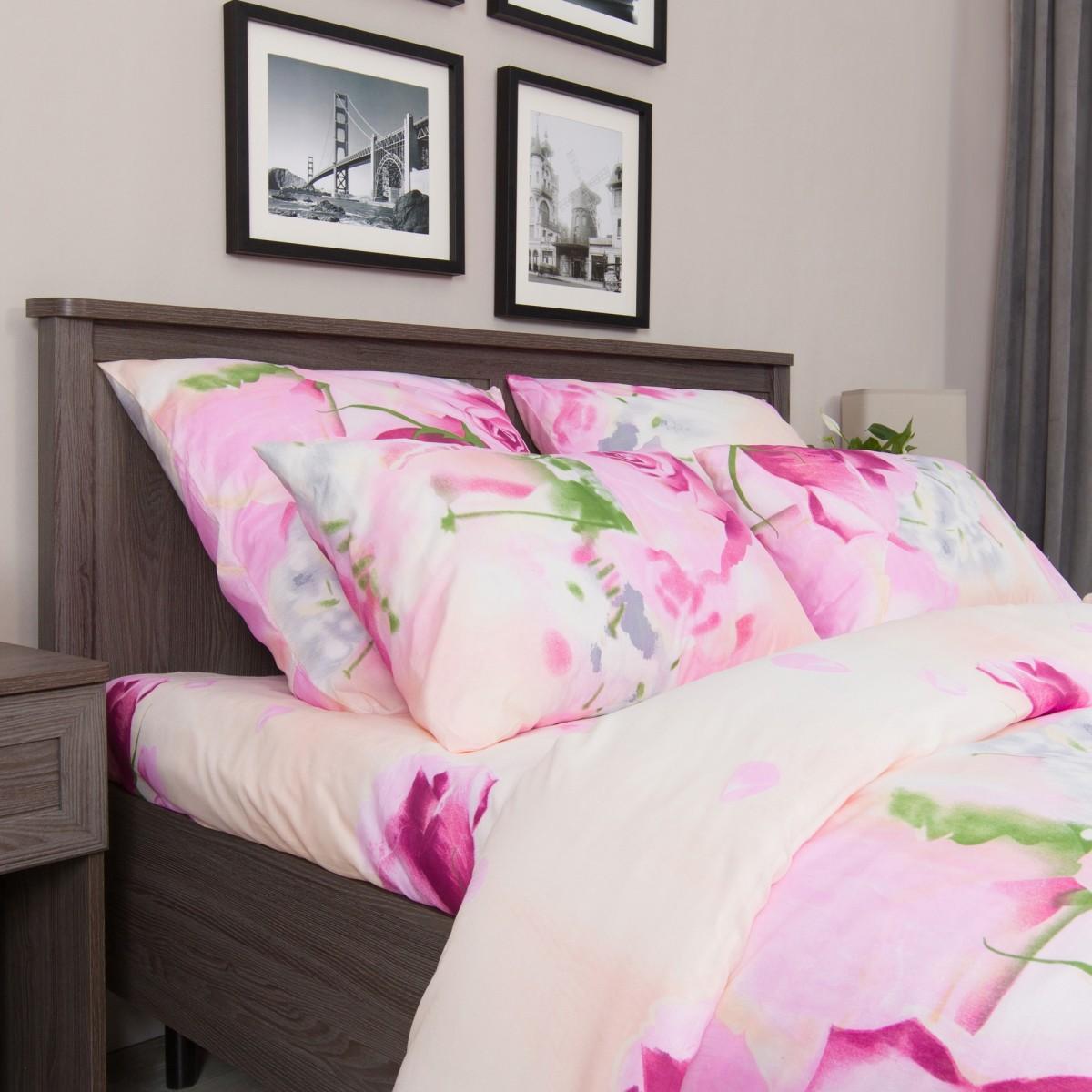 Комплект Постельного Белья Розовые Розы Полутораспальный Микрофибра