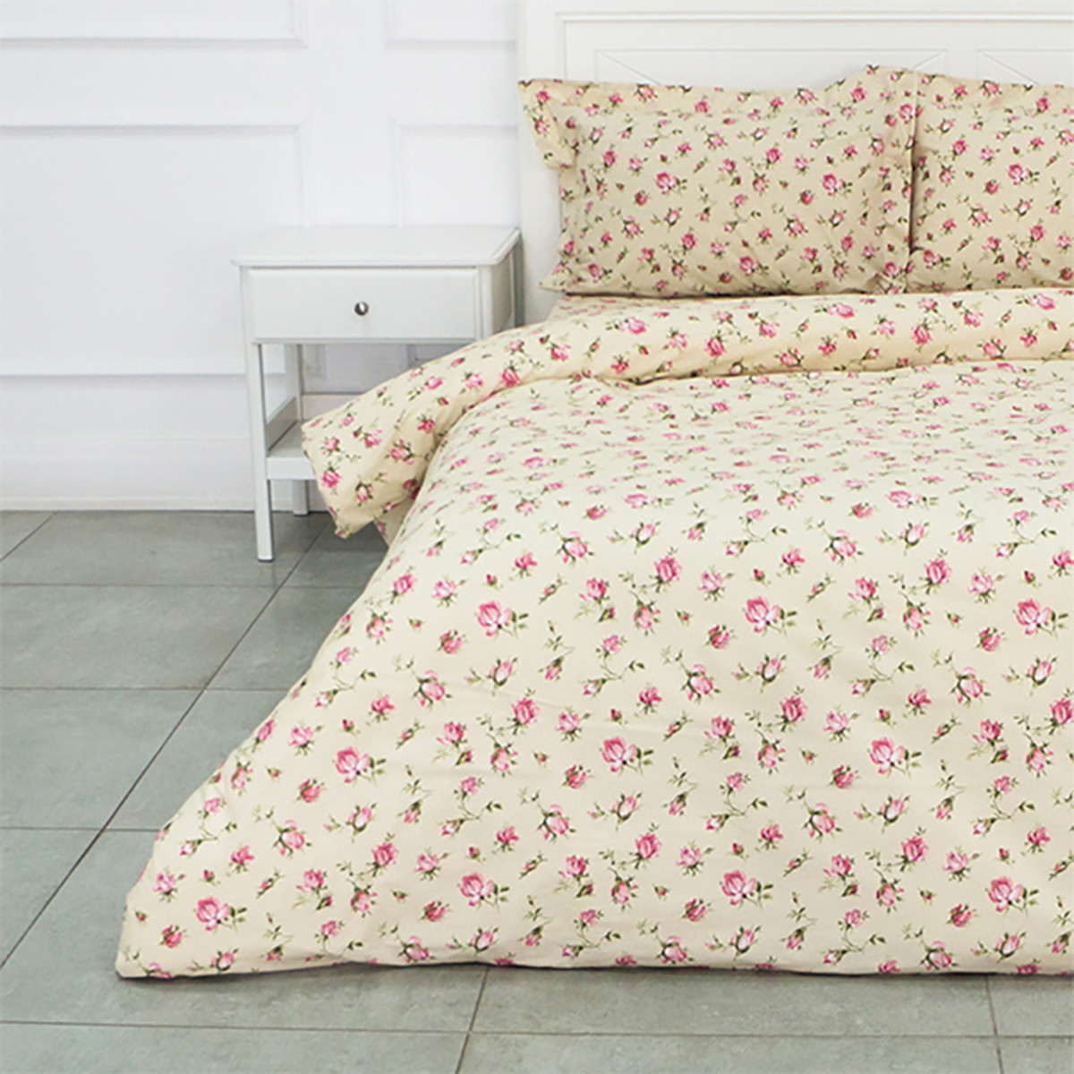 Комплект Постельного Белья Розовые Бутоны Двуспальный Бязь 50x70